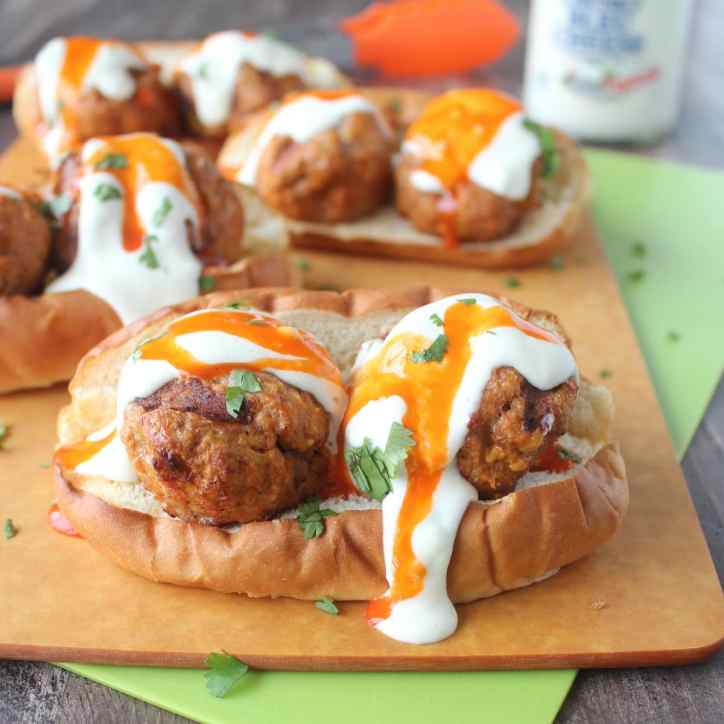 Grilled Buffalo Turkey Meatball Subs
