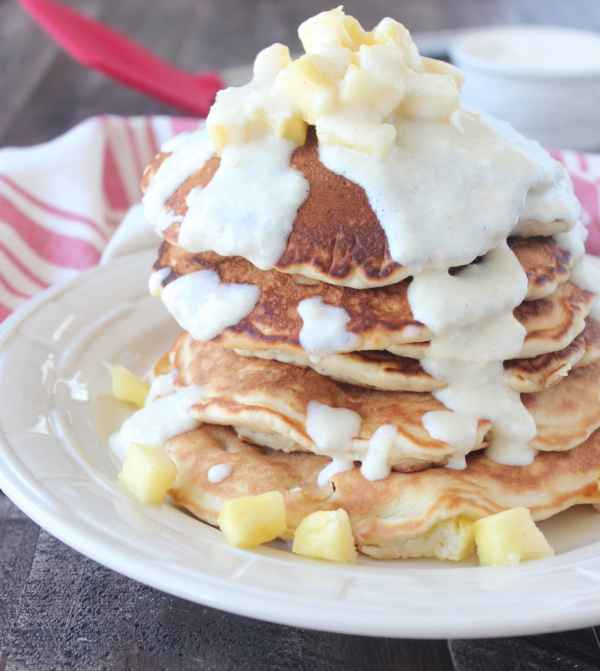 Pineapple Coconut Pancakes with Cream Cheese Syrup