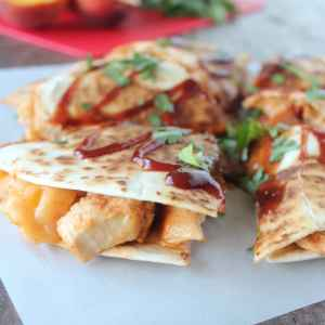 BBQ Chicken Peach Bacon Cheddar Quesadilla