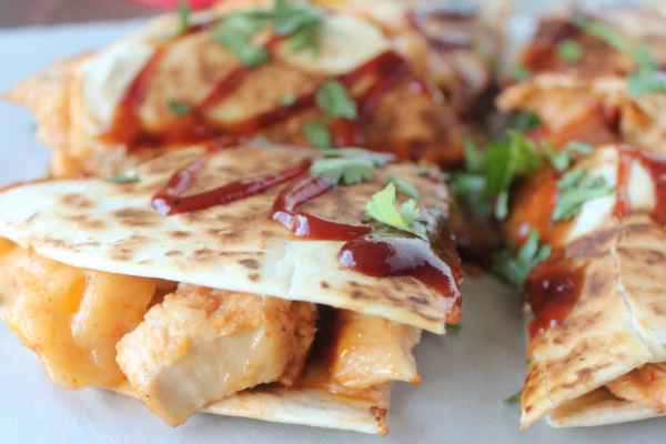 BBQ Chicken Peach Cheddar Bacon Quesadilla