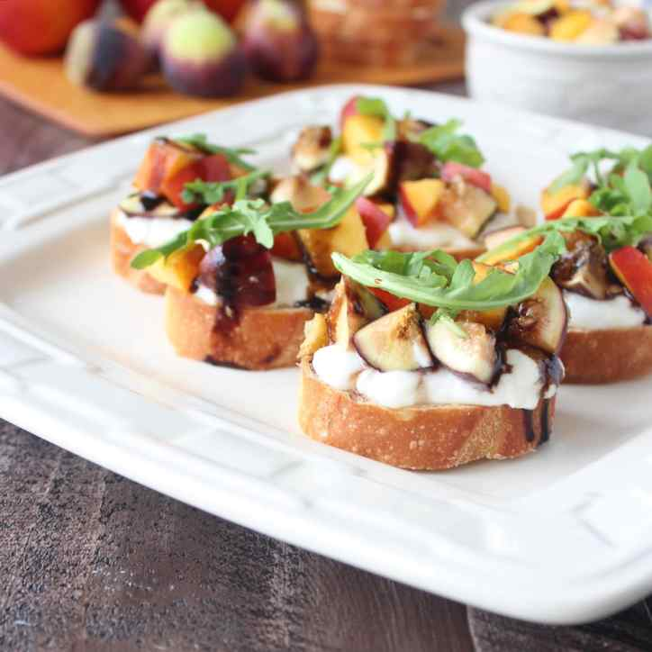 Nectarine Fig Burrata Bruschetta Recipe
