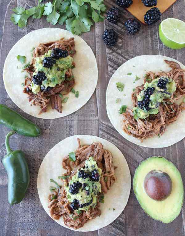 Blackberry Jalapeno Pulled Pork Tacos