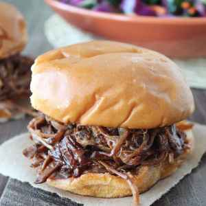 Slow Cooked Chipotle Apple BBQ Brisket Sandwich