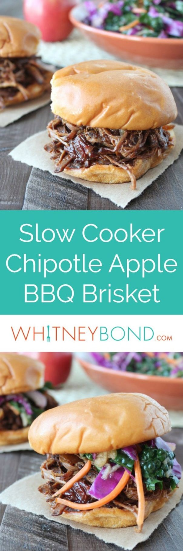 The combination of sweet apples and spicy chipotle peppers give a ton of flavor to this slow cooked, shredded BBQ Brisket sandwich recipe.