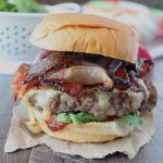 Sriracha Candied Bacon Brie Cheeseburger