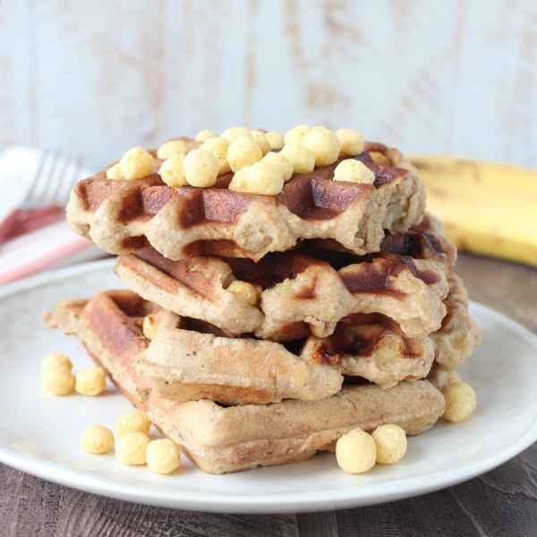 Gluten Free Crispy Peanut Butter Banana Waffles