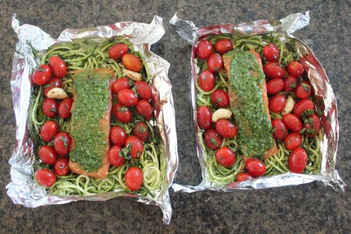 Pesto Baked Salmon with Cherry Tomatoes & Zucchini Noodle Foil Dinner Recipe