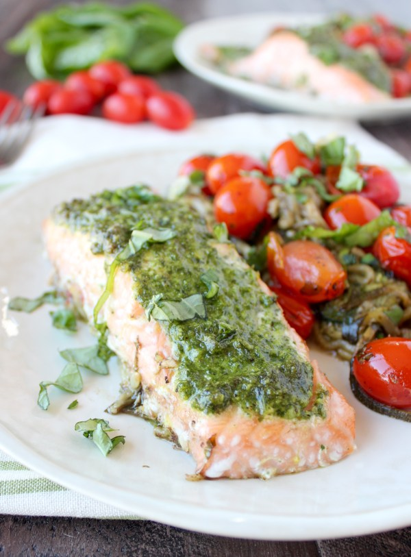 Pesto Baked Salmon Foil Baskets with Zucchini Noodles & Cherry Tomatoes