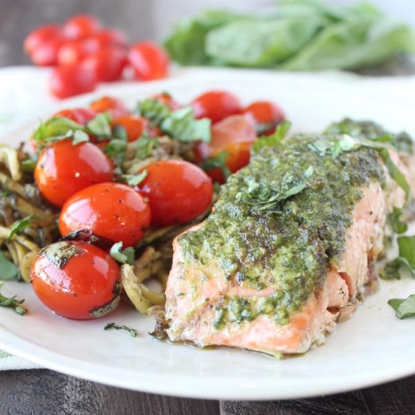 Pesto Baked Salmon Foil Dinner Recipe
