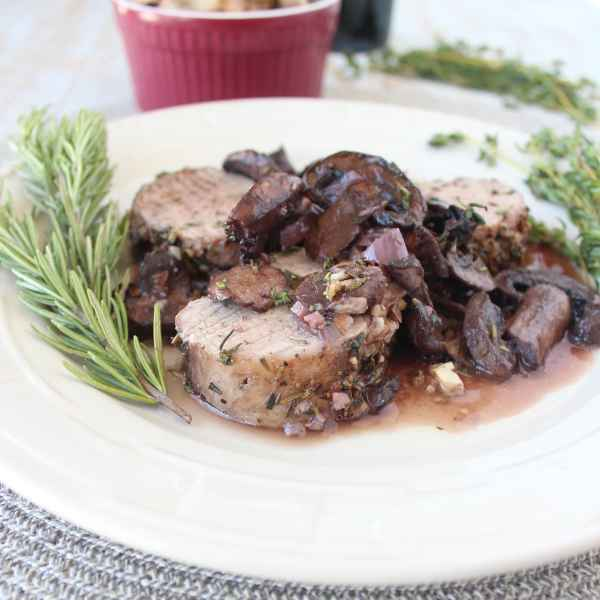 Herb Rubbed Pork Tenderloin in Red Wine Mushroom Sauce