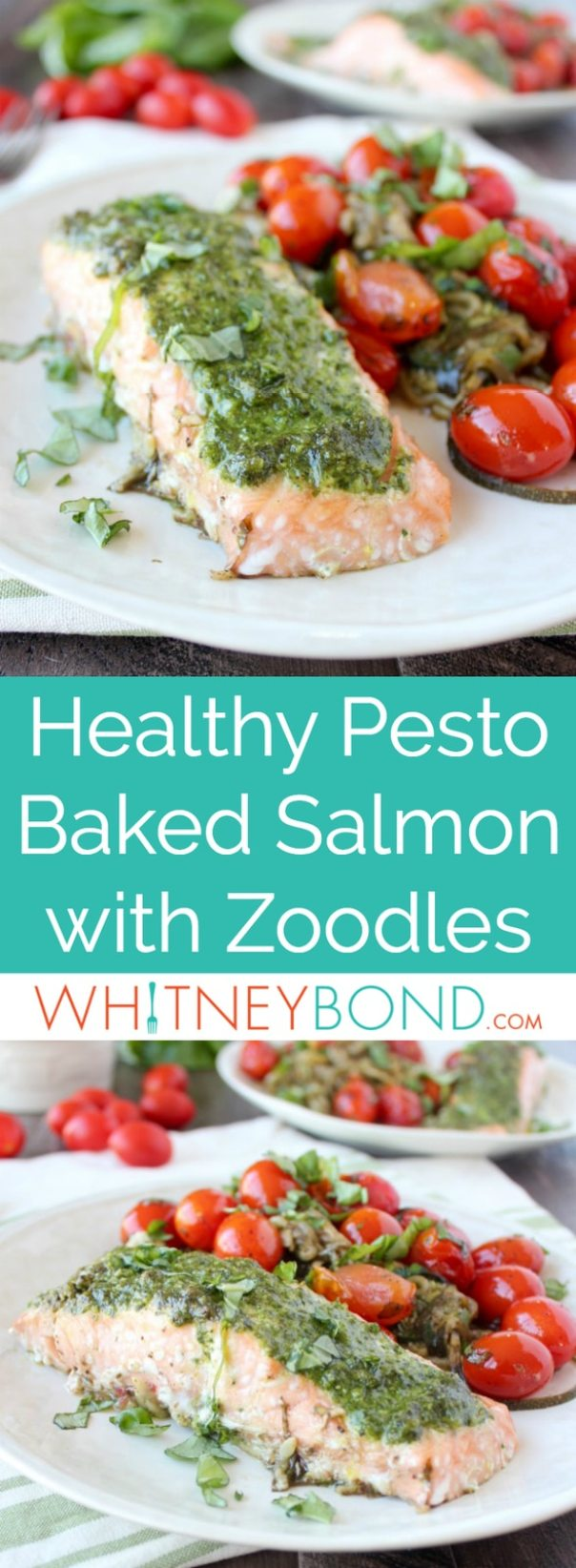 This gluten free recipe takes a healthy twist on the foil dinner with pesto baked salmon over zucchini noodles, topped with balsamic basil cherry tomatoes.