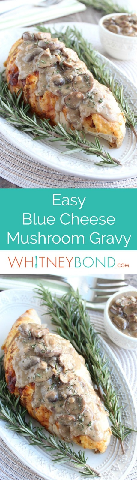 Adding blue cheese to mushroom gravy makes a creamy and flavorful gravy recipe that's perfect on top of sliced roasted turkey breast.
