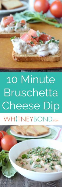 Fresh bruschetta combined with melted, creamy cheeses makes for one delicious bruschetta cheese dip recipe, made in only 10 minutes, perfect as a party appetizer!