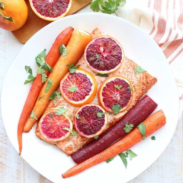 Blood Orange Baked Salmon And Carrots