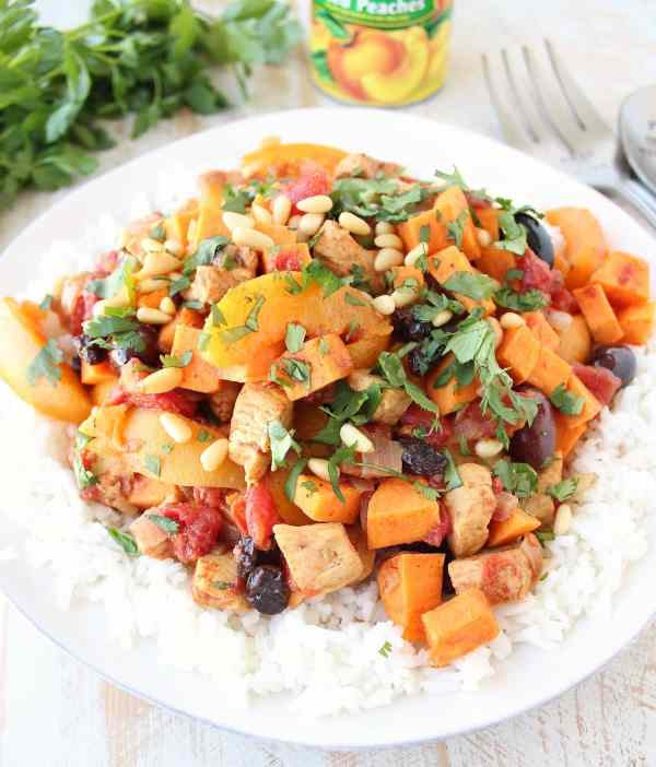 Gluten Free Moroccan Chicken and Peaches