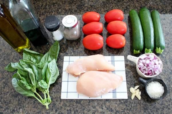 Bruschetta Grilled Chicken Zoodle Bowl Ingredients