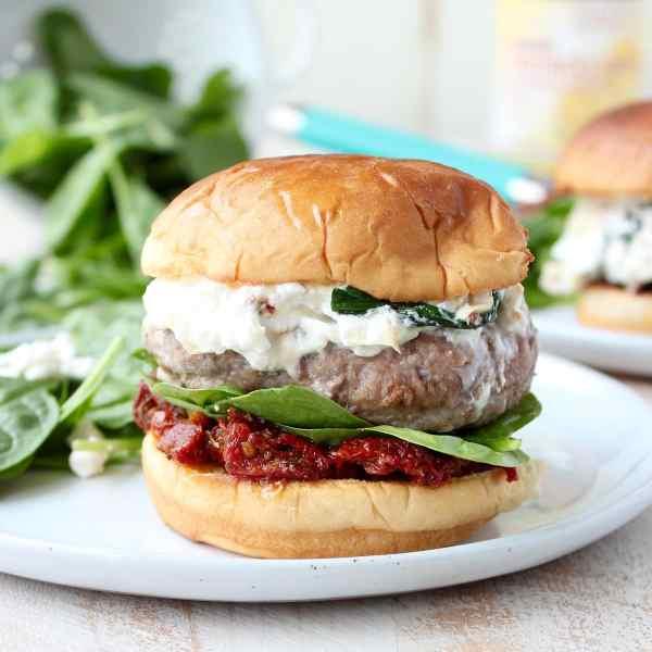 Spinach Artichoke Dip Turkey Burgers