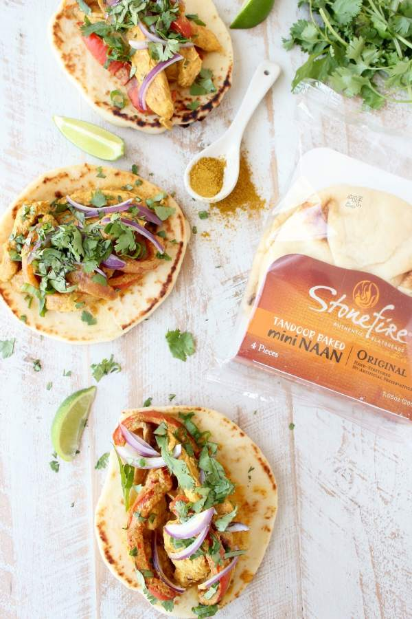 Indian Curry Chicken Naan Tacos