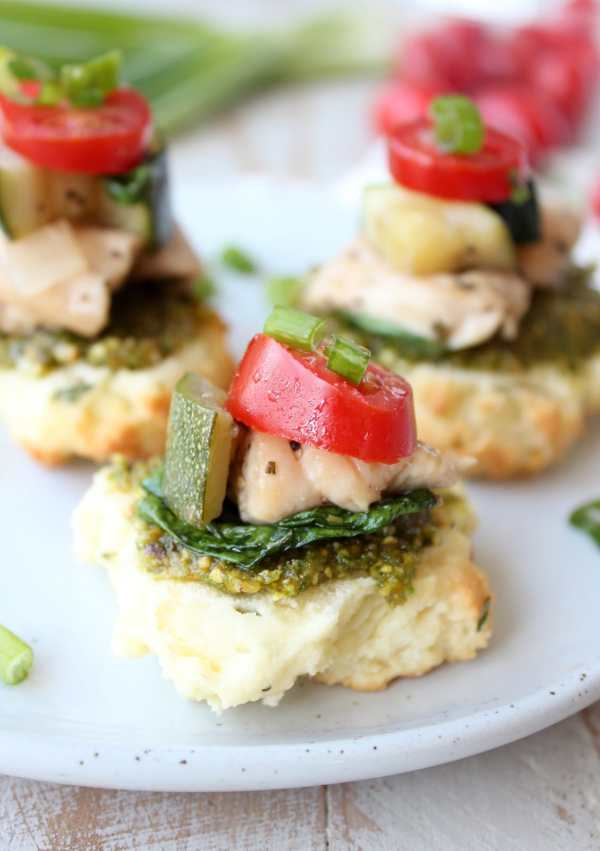Mini Gluten Free Pesto Chicken and Vegetable Bites