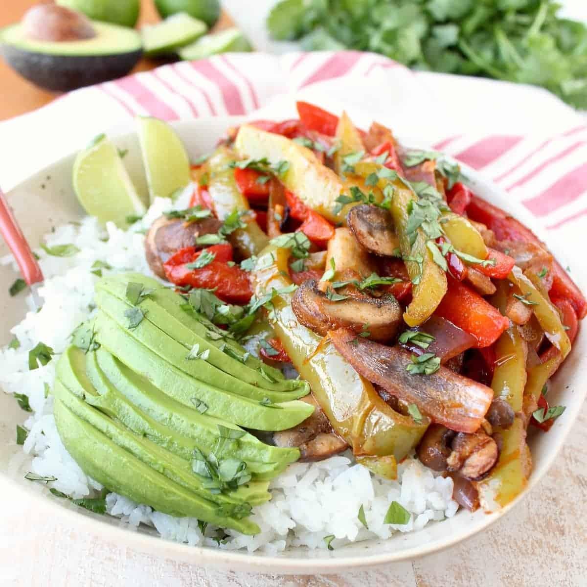 Veggie Fajita Rice Bowl