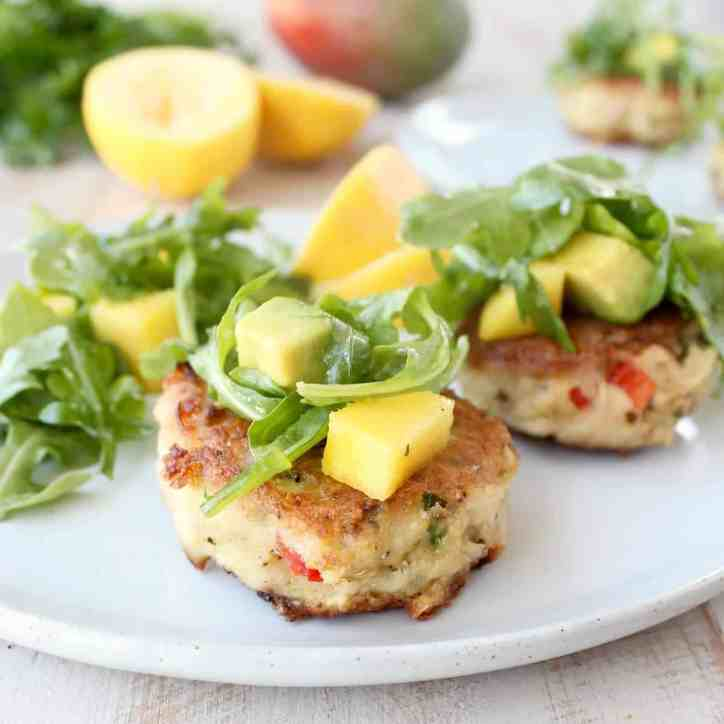 Coconut Crab Cakes with Mango Arugula Salad