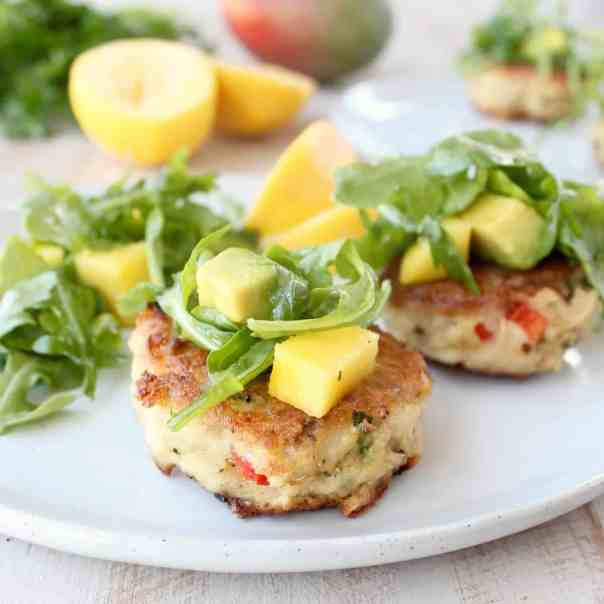 Coconut Crab Cakes with Mango Arugula Salad