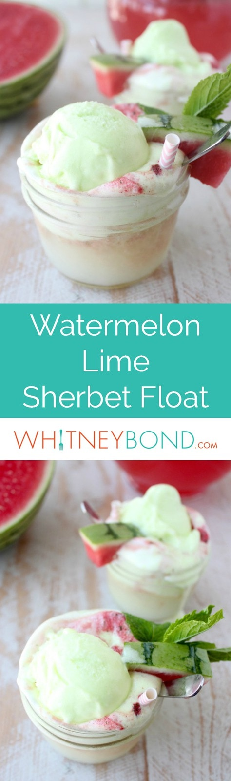 Fresh watermelon and mint are combined with lemon lime soda and poured over lime sherbet in this delicious sherbet float recipe, perfect for summer!