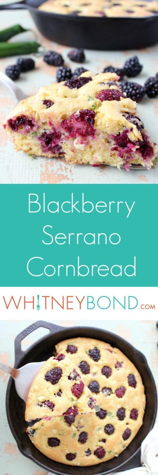 Fresh blackberries and serrano peppers add sweet, tangy and spicy flavors to this quick and easy homemade cornbread recipe.
