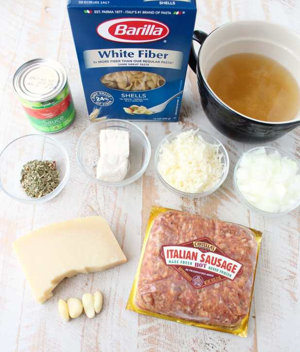 One Pot Italian Sausage Shells and Cheese Recipe Ingredients