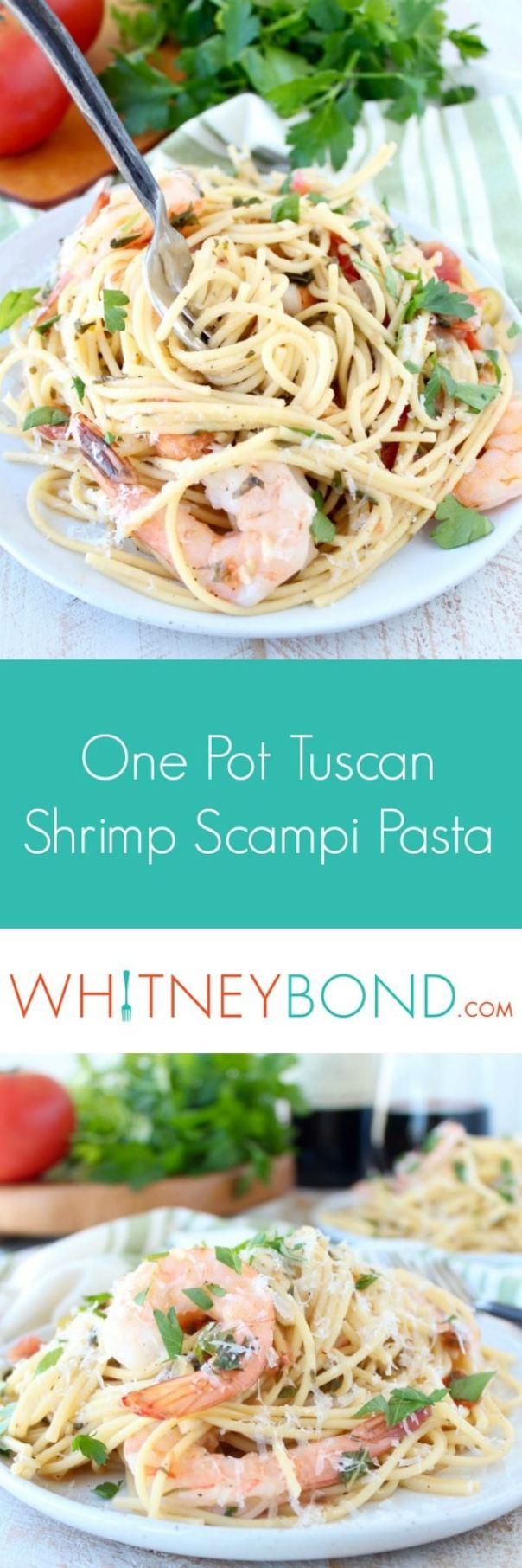 One Pot Tuscan Shrimp Scampi Pasta