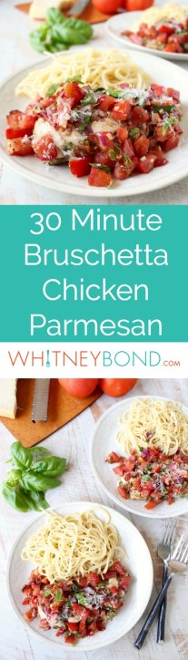 Made in one pot, in under 30 minutes, this fresh and flavorful Bruschetta Chicken Parmesan recipe is a delicious, quick and easy dinner dish!