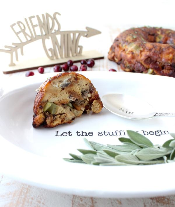 Preparing Sausage Stuffing in a bundt pan is so easy, the presentation is beautiful and it frees up casserole dishes for other sides at Thanksgiving!