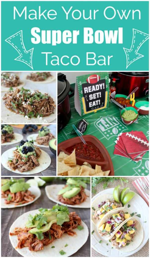 A Make Your Own Taco Bar takes the hassle out of cooking while hosting a party & guests will love it! It's perfect for Superbowl, birthday parties & more!