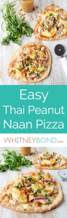This easy naan pizza recipe is made in under 30 minutes with Thai peanut chicken, red onion, pineapple & mozzarella for a delicious combination of flavors!