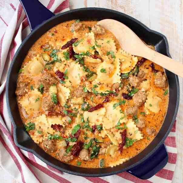 One Pot Pasta Sausage Pesto & Cheese Ravioli