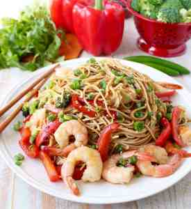 One Pot Teriyaki Shrimp Lo Mein