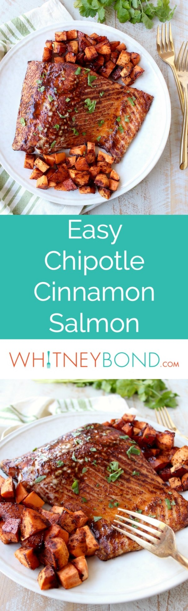 Baked Cinnamon Chipotle Salmon is a healthy, gluten free recipe that has the perfect balance of sweet and spicy, and is made in only 29 minutes for a quick and easy meal!