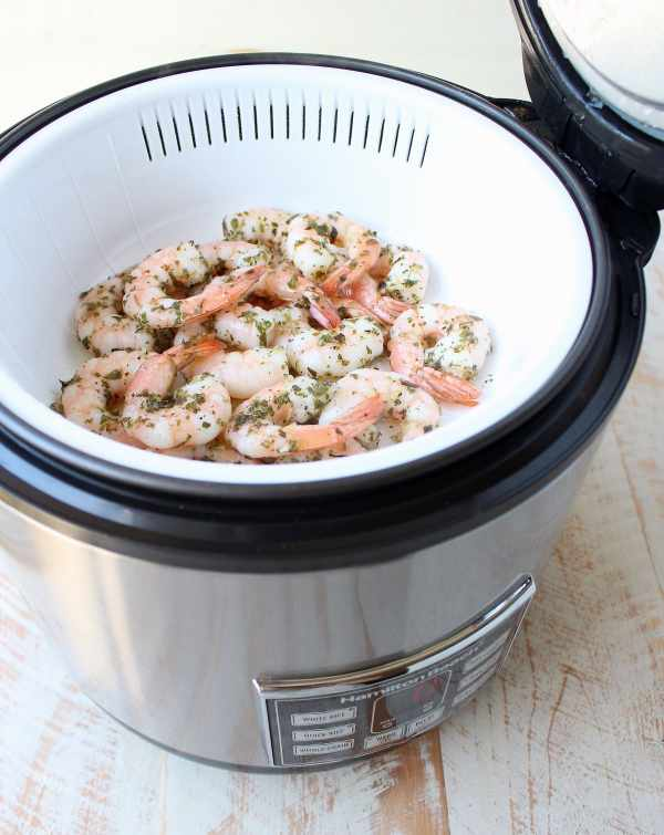 This Gluten Free Italian Shrimp & Polenta Recipe is made entirely in a rice cooker & steamer in only 29 minutes for an easy meal with very little clean up!