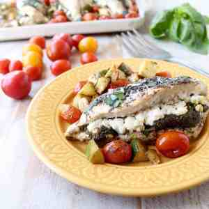 Sheet Pan Chicken Stuffed with Goat Cheese & Pesto