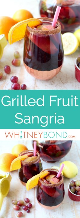 Red Wine Sangria is given a delicious twist in this refreshing cocktail recipe that features cinnamon sugar grilled peaches, apples, oranges and lemons!