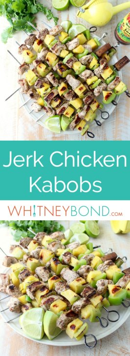 Jerk chicken kabobs with pineapple and bell peppers, the perfect gluten free recipe to toss on the grill and serve with honey lime sauce!