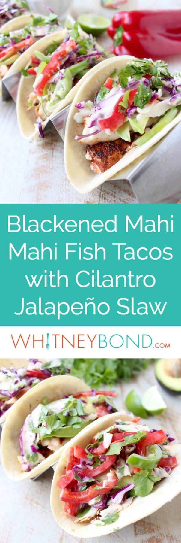 Blackened mahi mahi is pan seared & served in warm tortillas topped with crisp, fresh cilantro jalapeno coleslaw in this Mahi Mahi Fish Tacos recipe!