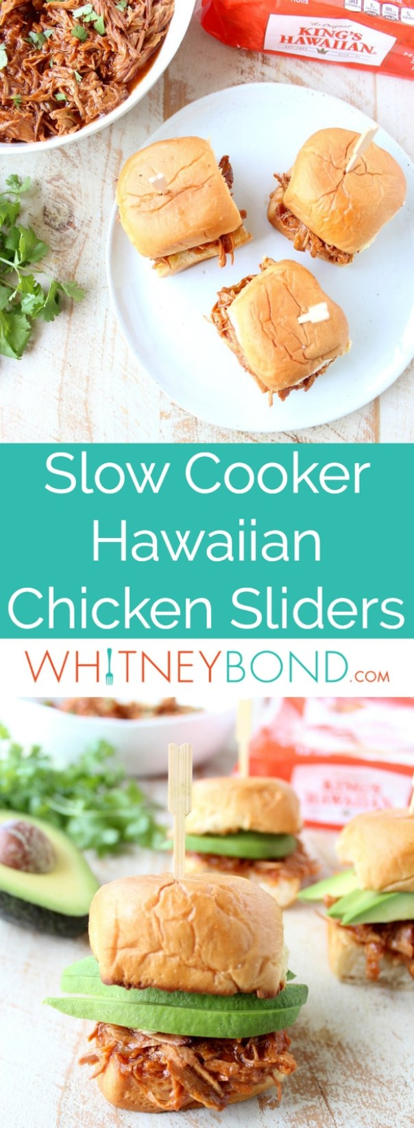 Hawaiian Chicken Sliders are easily made by tossing chicken, pineapple & Hawaiian BBQ sauce in a slow cooker for a few hours, then serving on Hawaiian rolls!