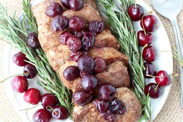 Tender, juicy, flavorful pork chops are roasted in the oven, or cooked in a sous vide, then finished off with a simple and delicious cherry balsamic glaze!