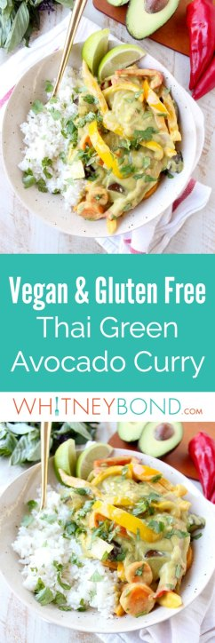 Avocado adds an extra rich, creamy flavor and texture to this Thai Green Curry Sauce, perfect for simmering with veggies in this Vegan Avocado Curry Recipe!