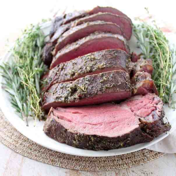 Herb Crusted Beef Tenderloin with Horseradish Gorgonzola Cream Sauce