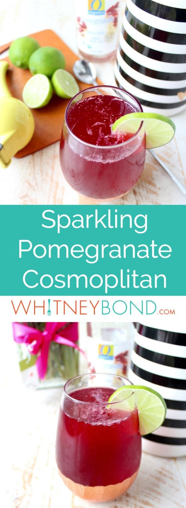 Sparkling pomegranate soda replaces cranberry juice in this bubbly twist on a traditional cosmopolitan cocktail, topped with champagne, perfect for parties or happy hour any day!