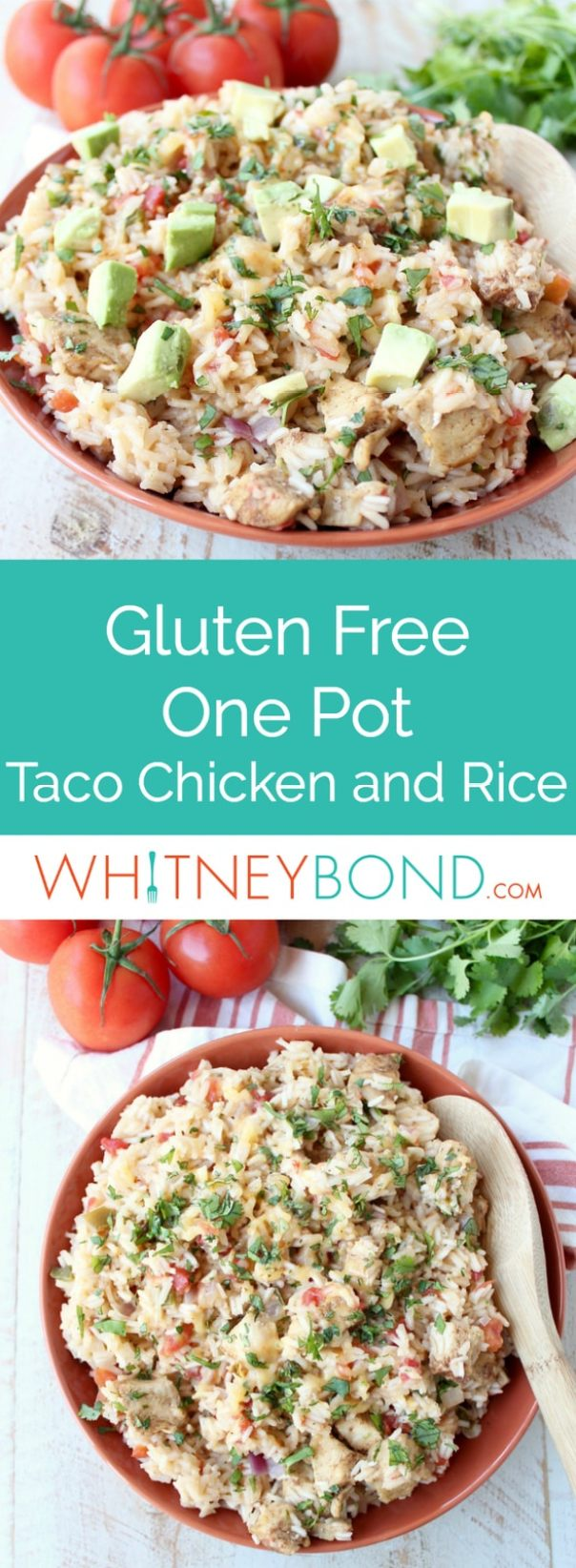 In one pot and under an hour, whip up this delicious Taco Chicken and Rice for dinner, it's flavorful, easy to make and gluten free!
