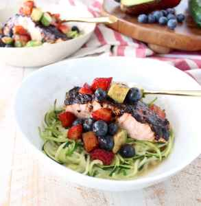 Balsamic Salmon Zoodle Bowls