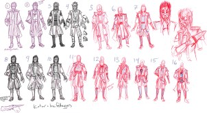 Rough costume designs for a client